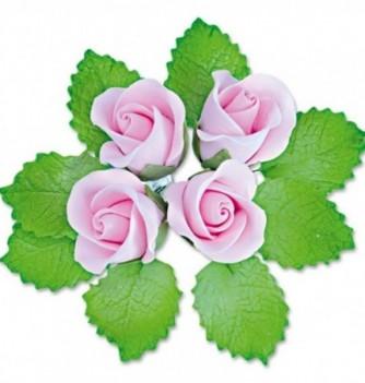 Fleurs en Pastillage Bouton Rose avec Feuilles