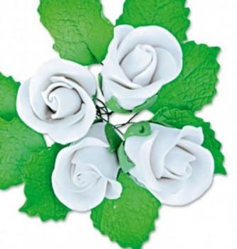 Fleurs en Pastillage Bouton Rose Blanc avec Feuilles