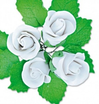 Gumpaste Flowers - White Roses with Leaves