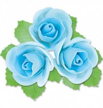 Fleurs en Pastillage Rose Semi-Ouverte Bleue avec Feuilles