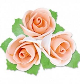 Fleurs en Pastillage Rose Semi-Ouverte Orange avec Feuilles