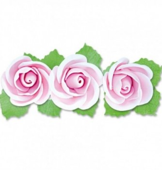 Gumpaste Flowers - 3 Pink Roses with Leaves