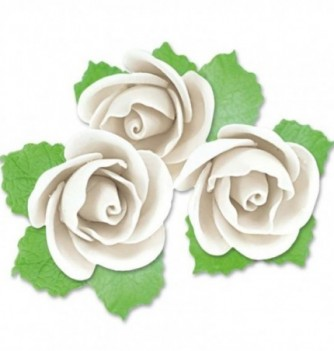 Gumpaste Flowers - 3 White Roses with Leaves