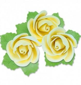 Fleurs en Pastillage Rose Semi-Ouverte Jaune avec Feuilles