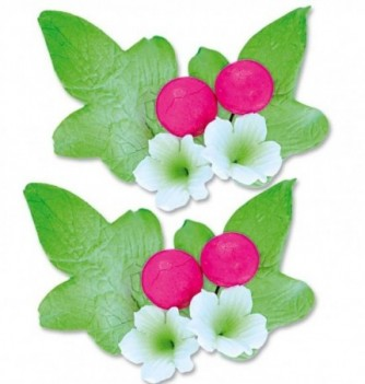 Gumpaste Flowers - White Flowers & fuchsia buds