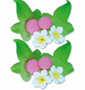 Gumpaste Flowers - White Flowers & pink buds