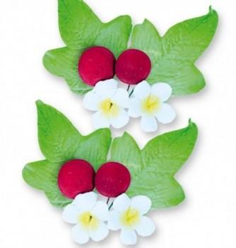 Gumpaste Flowers - White Flowers & red buds