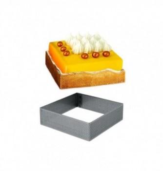Carré Inox Pâtisserie 14cm Micro-Perforé ht.3.5cm