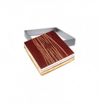 Square Stainless Steel Frame Entremet 12x12x3.5cm