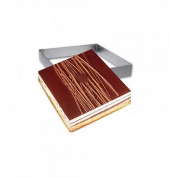 Square Stainless Steel Frame Entremet 14x14x3.5cm