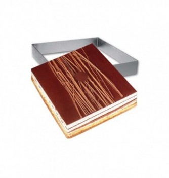 Square Stainless Steel Frame Entremet 18x18x3.5cm