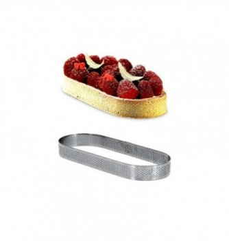 Cercle à Tarte Ovale 12cm Inox Micro-Perforé ht.2cm