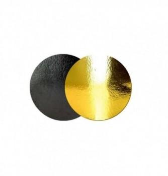 Support Gâteau Carton Rond Or/Noir 16cm