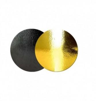 Support Gâteau Carton Rond Or/Noir 18cm