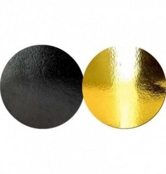 Support Gâteau Carton Rond Or/Noir 20cm