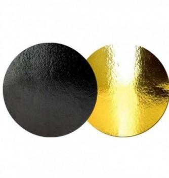 Support Gâteau Carton Rond Or/Noir 22cm