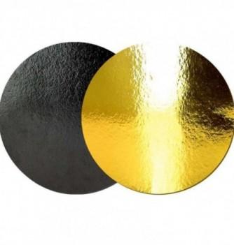 Support Gâteau Carton Rond Or/Noir 26cm