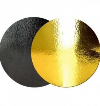Support Gâteau Carton Rond Or/Noir 28cm