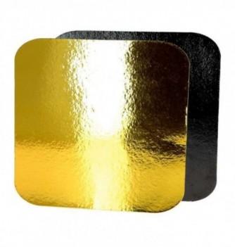 Support Gâteau Carton Carré Or/Noir 20cm