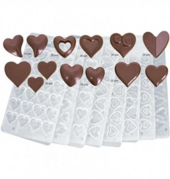 Plastic Mold for Chocolate - Hearts - x 8