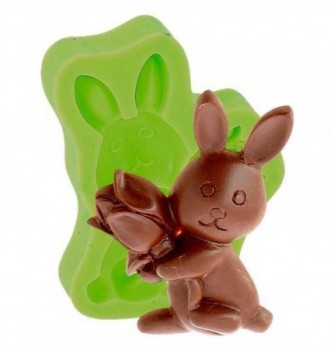 Silicone Mold for Decorations - Rabbit with Rose 6.5x4.5cm