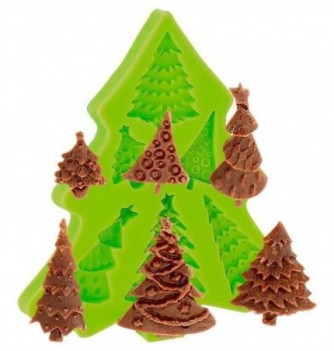 Silicone Mold for Decorations - Christmas Trees x 6 3.5x2cm