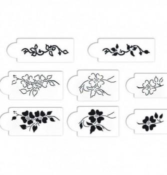 Plastic Stencil - Flowers - 8 pcs 85x60mm to 160x70mm