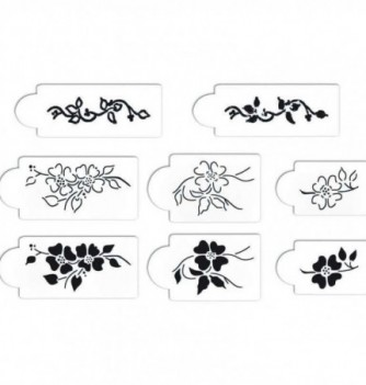 SET 8 pochoirs fleurs
