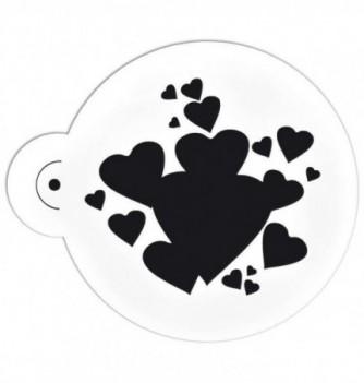 Plastic Stencil - Hearts 95x90mm