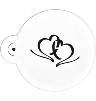 Plastic Stencil -  2 Hearts  70x45mm