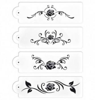 SET 4 pochoirs fleurs