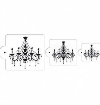 Plastic Stencil - Chandeliers x 3 65x65 to 130x125mm