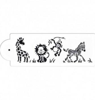 Plastic Stencil - Animals of the Savannah 285x90mm