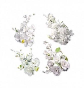 Bouquet de Fleur en Pastillage Blanc Grand Modèle
