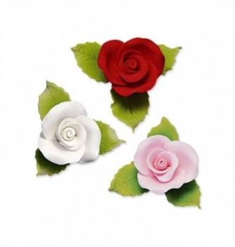Gumpaste Flowers - Roses and leaves 30mm