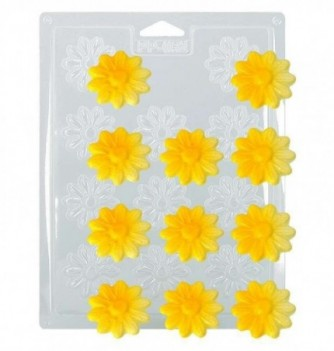 Plastic Plate for Chocolate - Flowers x 11 4cm