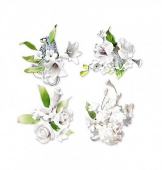 Bouquet de Fleur en Pastillage Assortiment Blanche