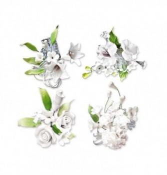 Gumpaste Flowers - Small white flowers h100mm