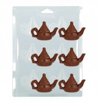 Plastic Plate for Chocolate -  Big Teapots x 6 7x5cm