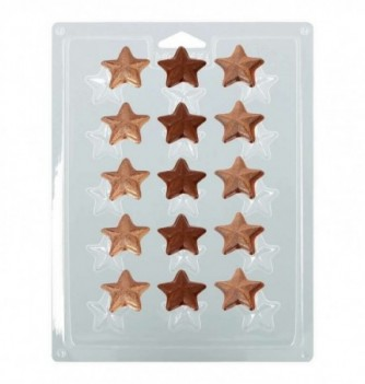 Plastic Plate for Chocolate -  Stars x 15 3cm