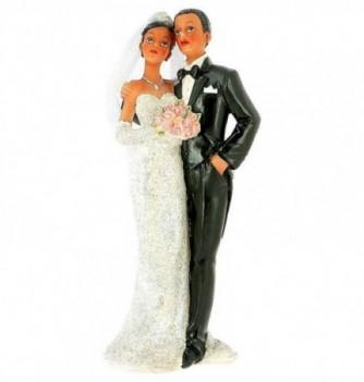 Figurine Gâteau Mariage Femme avec Bouquet de Roses