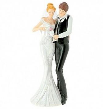 Figurine Gâteau Mariage Couple avec Verre de Vin