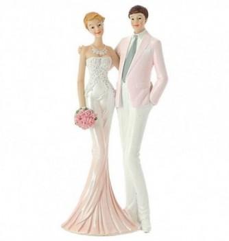 Figurine Gâteau Mariage Couple de Mariés Rose