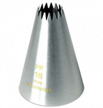 Stainless steel pastry tube petit-four 16 teeth