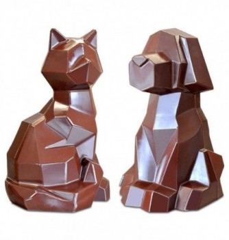 Moule Chocolat Professionnel Chien & Chat Origami 2 sujets