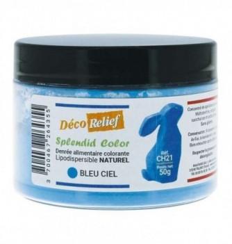 Pot de colorant alimentaire naturel lipodispersible bleu ciel