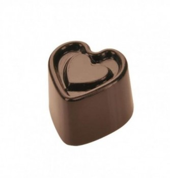 Chocolate mold Marked heart 25x25x19mm 18pcs 10g