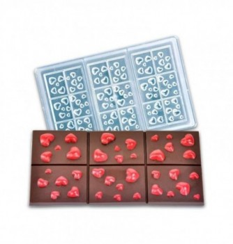 Chocolate mold -Chocolate Bar with Hearts - 3 pcs
