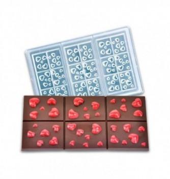 Moule Tablette Chocolat avec Coeurs 62gr