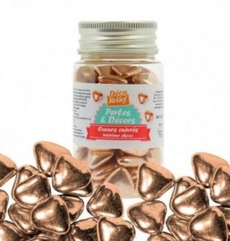 Copper hearts inside choco